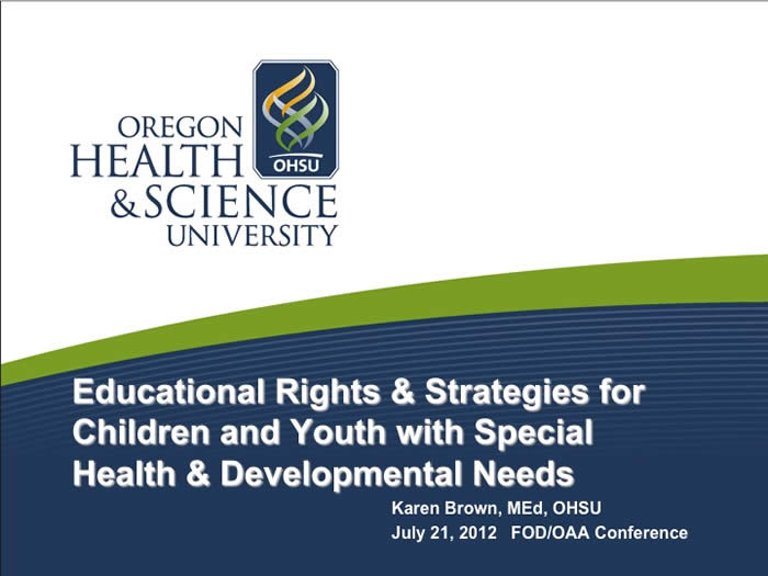 Slide from Karen Brown's presentation at the 2012 FOD/OAA conference