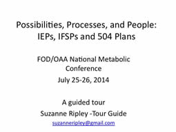 Slide from Suzanne Ripley's presentation at the 2014 FOD/OAA conference