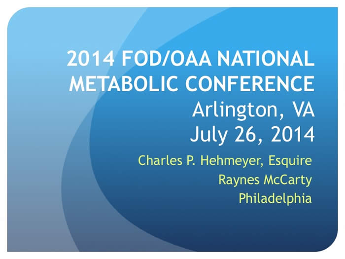 Slide from Chuck Hehmeyer's presentation at the 2014 FOD/OAA conference