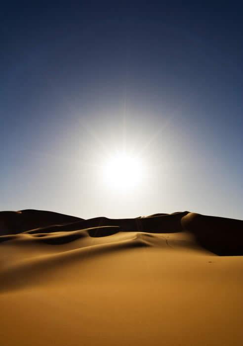 The sun rising over sand dunes in the desert