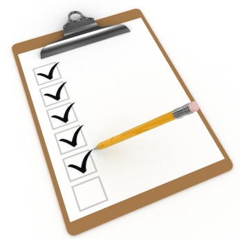 Clipboard with a list of checkboxes being checked off by a pencil